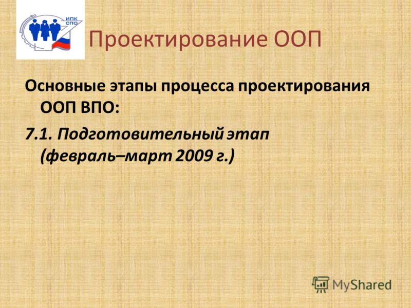 Проектирование ООП Основные этапы процесса проектирования ООП ВПО: 7.1. Подготовительный этап (февраль–март 2009 г.)