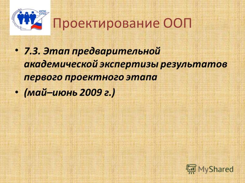 Проектирование ООП 7.3. Этап предварительной академической экспертизы результатов первого проектного этапа (май–июнь 2009 г.)