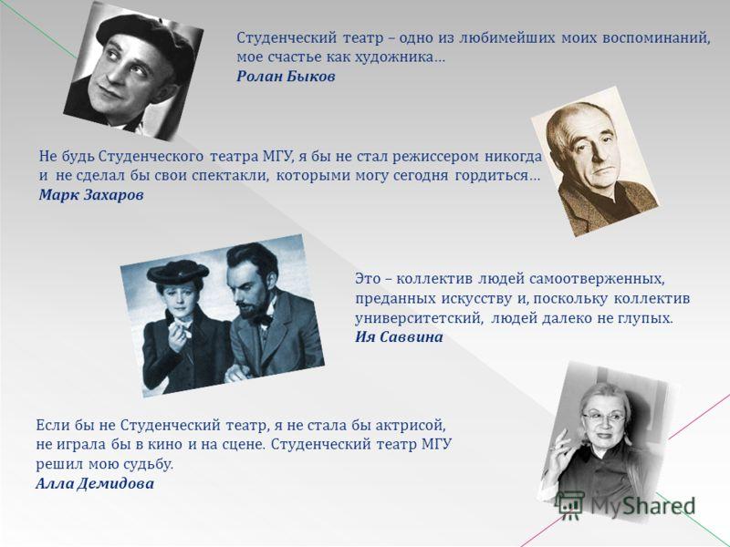 Не будь Студенческого театра МГУ, я бы не стал режиссером никогда и не сделал бы свои спектакли, которыми могу сегодня гордиться… Марк Захаров Студенческий театр – одно из любимейших моих воспоминаний, мое счастье как художника… Ролан Быков Это – кол