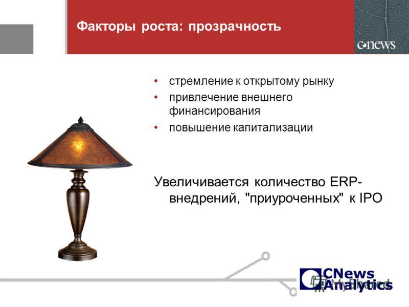 9 Факторы роста: прозрачность стремление к открытому рынку привлечение внешнего финансирования повышение капитализации Увеличивается количество ERP- внедрений, приуроченных к IPO