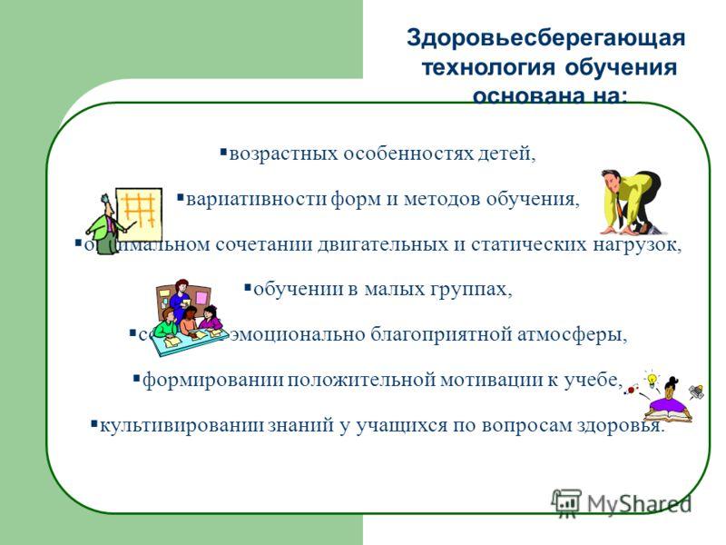 возрастных особенностях детей, вариативности форм и методов обучения, оптимальном сочетании двигательных и статических нагрузок, обучении в малых группах, создании эмоционально благоприятной атмосферы, формировании положительной мотивации к учебе, ку