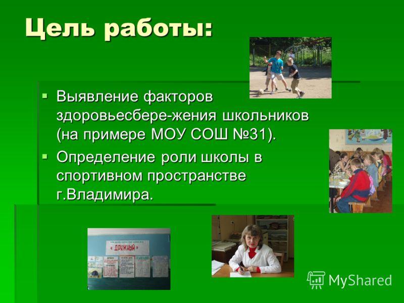 Цель работы: Выявление факторов здоровьесбере-жения школьников (на примере МОУ СОШ 31). Выявление факторов здоровьесбере-жения школьников (на примере МОУ СОШ 31). Определение роли школы в спортивном пространстве г.Владимира. Определение роли школы в