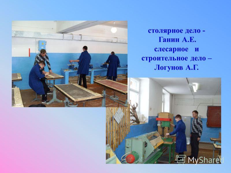 столярное дело - Ганин А.Е. слесарное и строительное дело – Логунов А.Г.