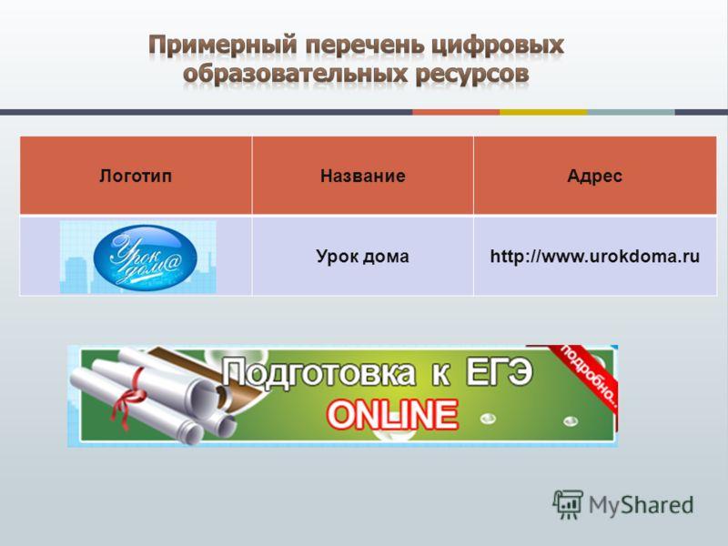 ЛоготипНазваниеАдрес Урок домаhttp://www.urokdoma.ru