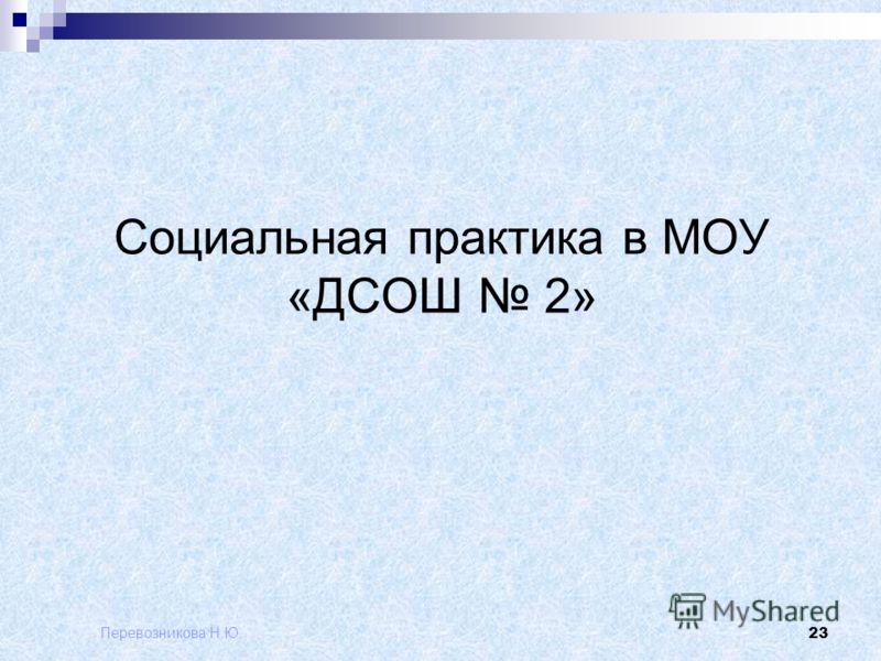 Перевозникова Н.Ю. 23 Социальная практика в МОУ «ДСОШ 2»