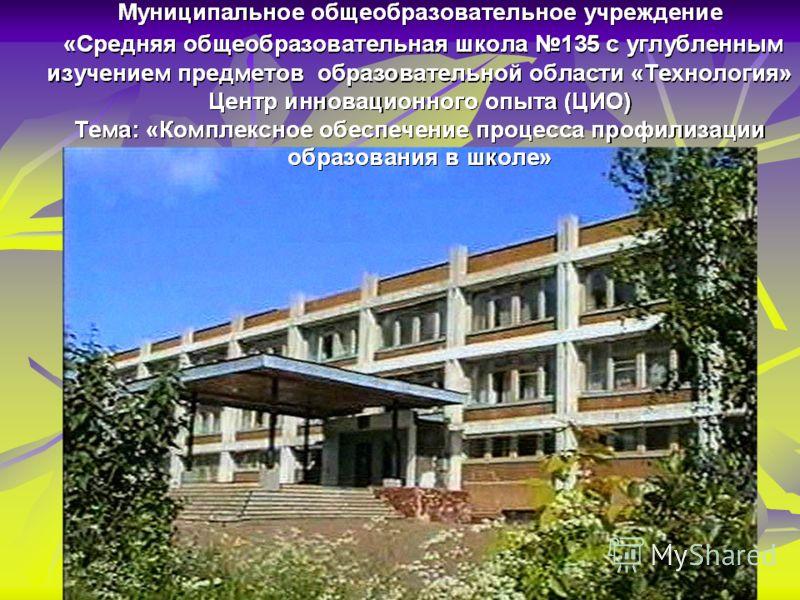 Муниципальное общеобразовательное учреждение «Средняя общеобразовательная школа 135 с углубленным изучением предметов образовательной области «Технология»
