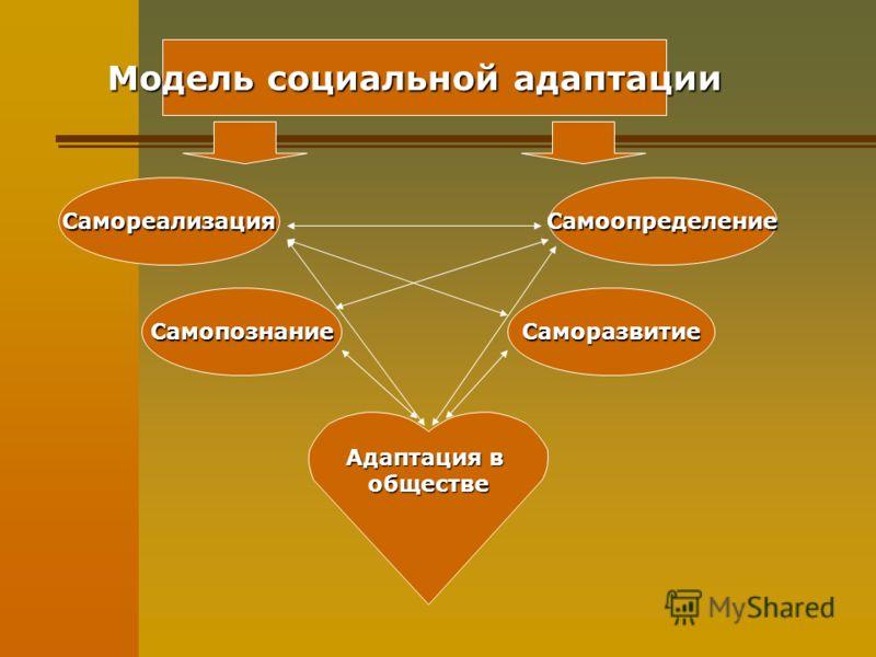 Модель социальной адаптации СаморазвитиеСамопознание СамореализацияСамоопределение Адаптация в обществе