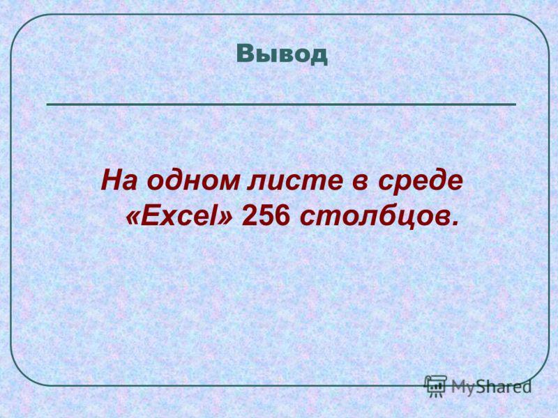 Вывод На одном листе в среде «Excel» 256 столбцов.