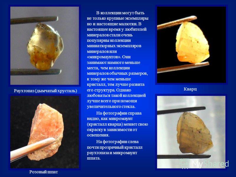 В коллекции могут быть не только крупные экземпляры но и настоящие малютки. В настоящее время у любителей минералов стали очень популярны коллекции миниатюрных экземпляров минералов или «микромаунтов». Они занимают намного меньше места, чем коллекции