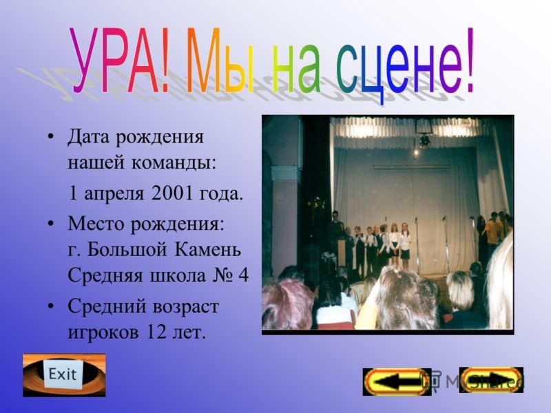 Дата рождения нашей команды: 1 апреля 2001 года. Место рождения: г. Большой Камень Средняя школа 4 Средний возраст игроков 12 лет.