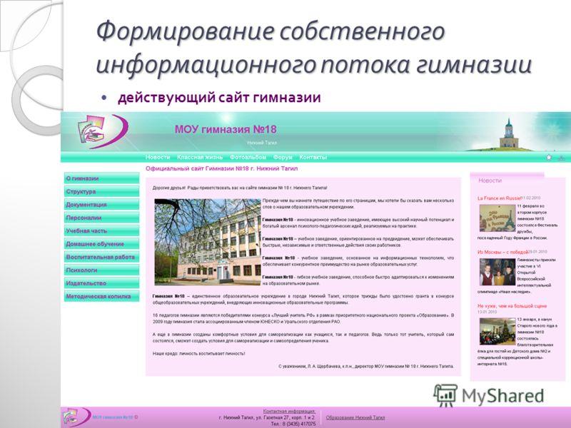 Формирование собственного информационного потока гимназии действующий сайт гимназии