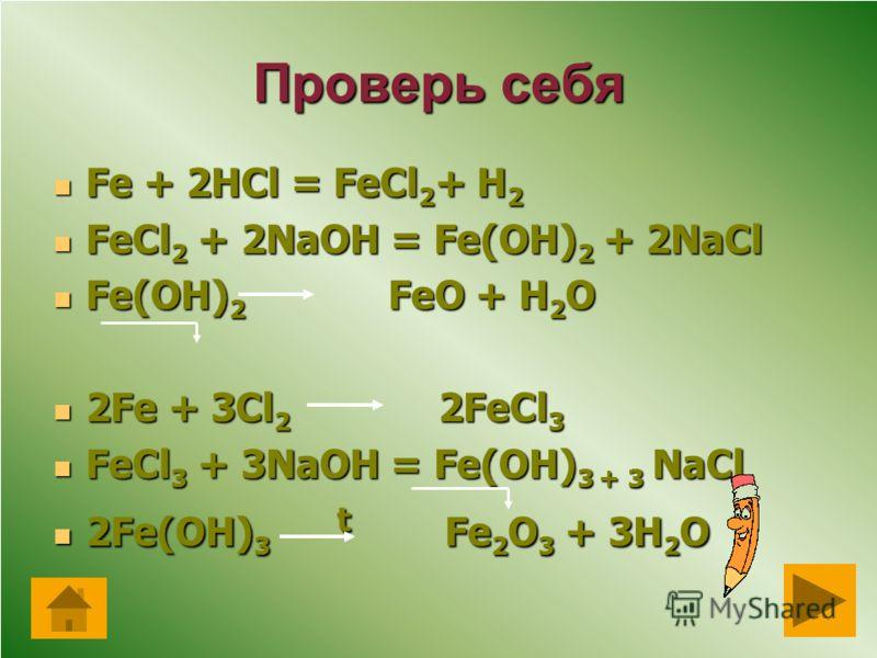 Генетический ряд Fe+2 Fe+2 FeCl2 Fe(OH)2 FeO Генетический ряд Fe+3 Fe+3 FeCl3 Fe(OH)3 Fe2O3 Проверь себя