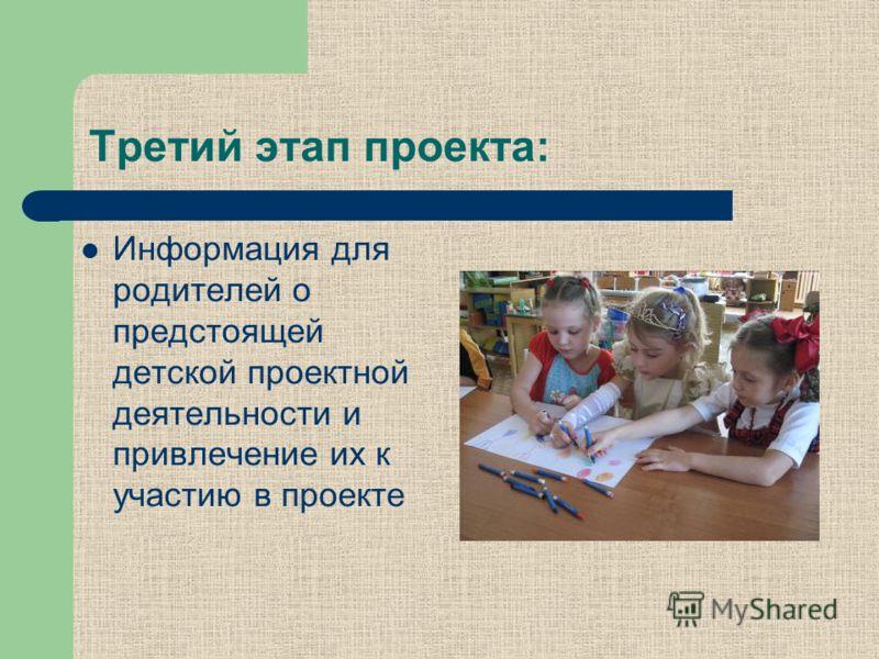 Третий этап проекта: Информация для родителей о предстоящей детской проектной деятельности и привлечение их к участию в проекте