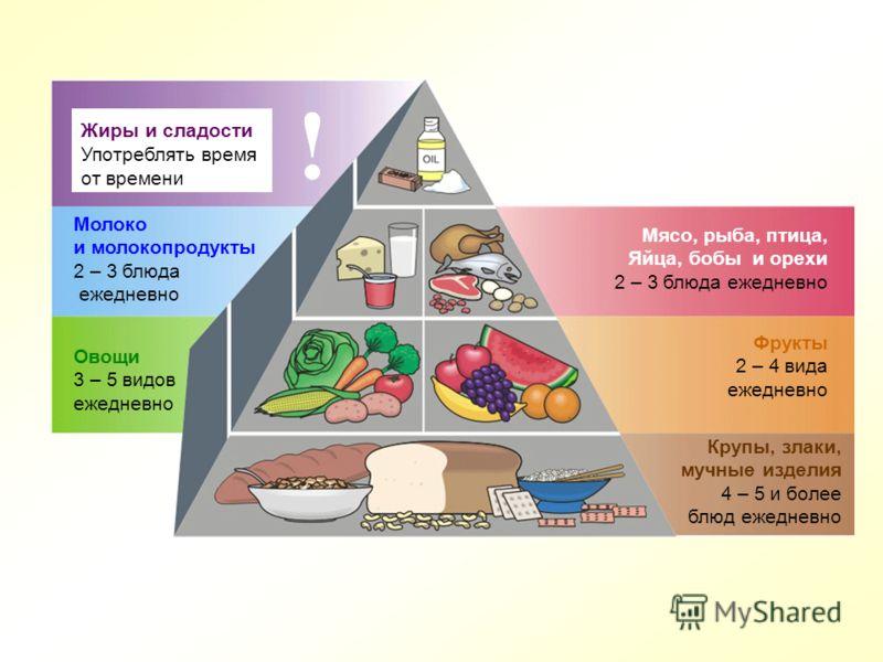 Жиры и сладости Употреблять время от времени ! Молоко и молокопродукты 2 – 3 блюда ежедневно Овощи 3 – 5 видов ежедневно Мясо, рыба, птица, Яйца, бобы и орехи 2 – 3 блюда ежедневно Фрукты 2 – 4 вида ежедневно Крупы, злаки, мучные изделия 4 – 5 и боле