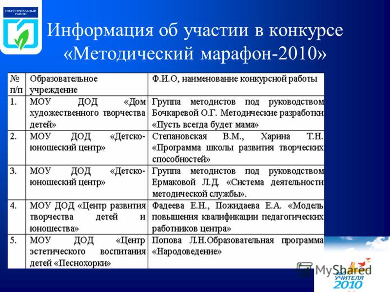 Информация об участии в конкурсе «Методический марафон-2010»