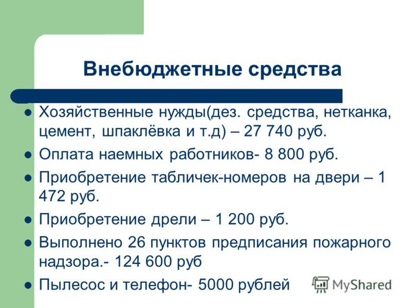 Внебюджетные средства Хозяйственные нужды(дез. средства, нетканка, цемент, шпаклёвка и т.д) – 27 740 руб. Оплата наемных работников- 8 800 руб. Приобретение табличек-номеров на двери – 1 472 руб. Приобретение дрели – 1 200 руб. Выполнено 26 пунктов п