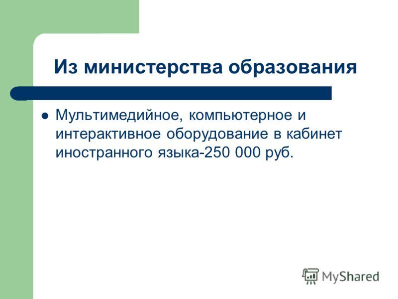 Из министерства образования Мультимедийное, компьютерное и интерактивное оборудование в кабинет иностранного языка-250 000 руб.