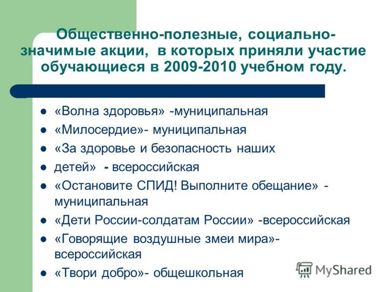Общественно-полезные, социально- значимые акции, в которых приняли участие обучающиеся в 2009-2010 учебном году. «Волна здоровья» -муниципальная «Милосердие»- муниципальная «За здоровье и безопасность наших детей» - всероссийская «Остановите СПИД! Вы