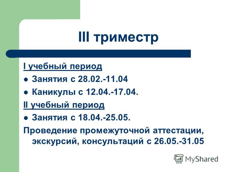III триместр I учебный период Занятия с 28.02.-11.04 Каникулы с 12.04.-17.04. II учебный период Занятия с 18.04.-25.05. Проведение промежуточной аттестации, экскурсий, консультаций с 26.05.-31.05