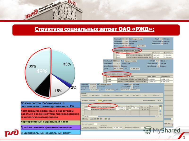 3 Структура социальных затрат ОАО «РЖД»: