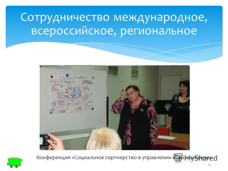 10 Конференция «Социальное партнерство в управлении образованием» Сотрудничество международное, всероссийское, региональное