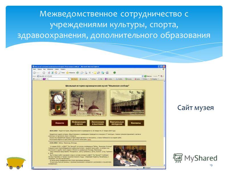 Межведомственное сотрудничество с учреждениями культуры, спорта, здравоохранения, дополнительного образования 19 Сайт музея