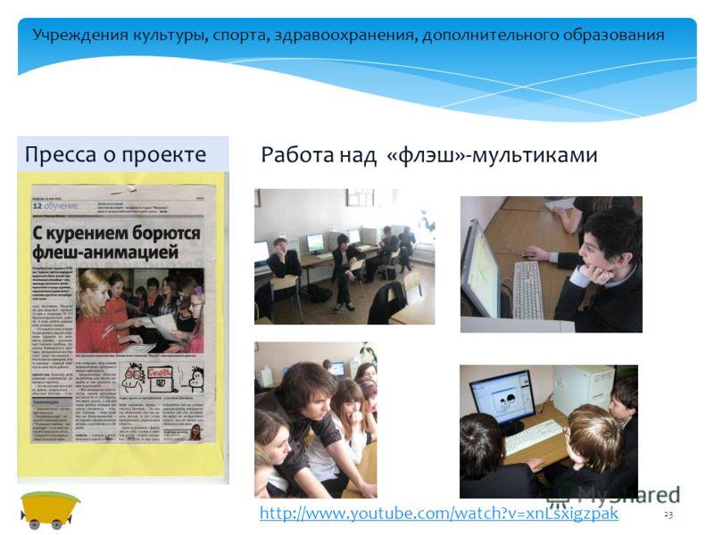 23 Работа над «флэш»-мультиками Пресса о проекте http://www.youtube.com/watch?v=xnLsxigzpak Учреждения культуры, спорта, здравоохранения, дополнительного образования