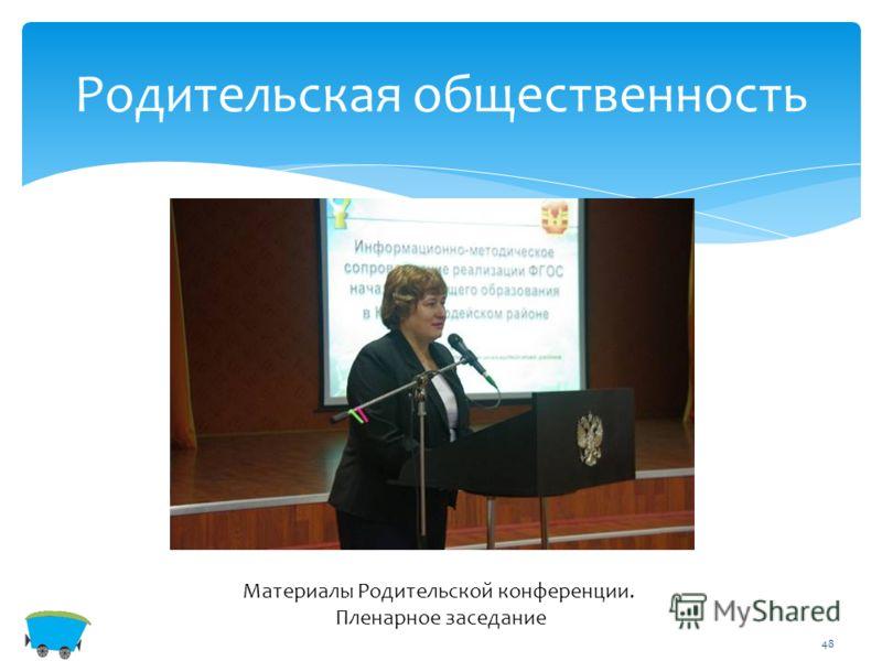 48 Родительская общественность Материалы Родительской конференции. Пленарное заседание