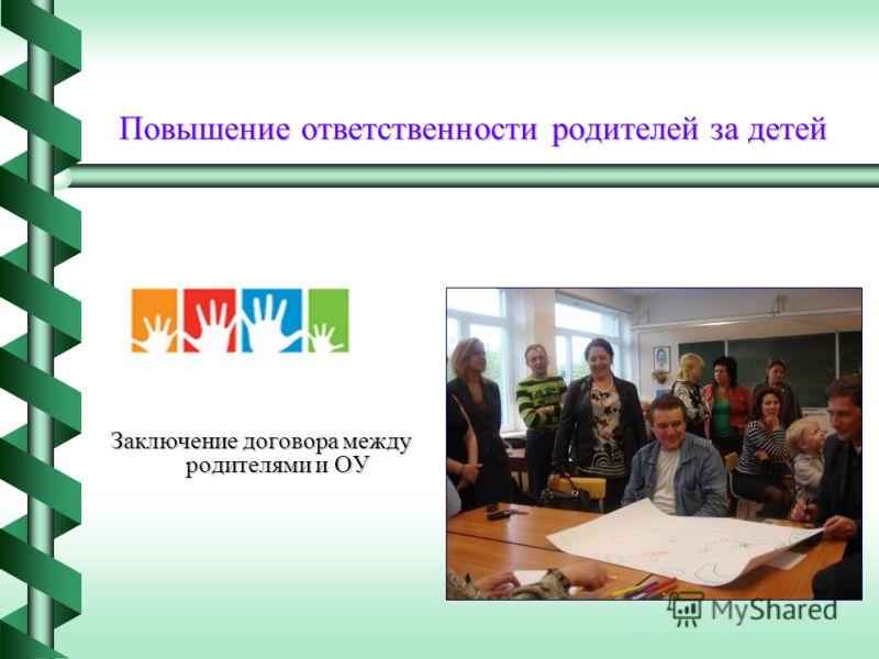 Повышение ответственности родителей за детей Заключение договора между родителями и ОУ