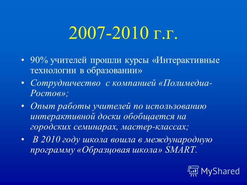 2007-2010 г.г. 90% учителей прошли курсы «Интерактивные технологии в образовании» Сотрудничество с компанией «Полимедиа- Ростов»; Опыт работы учителей по использованию интерактивной доски обобщается на городских семинарах, мастер-классах; В 2010 году
