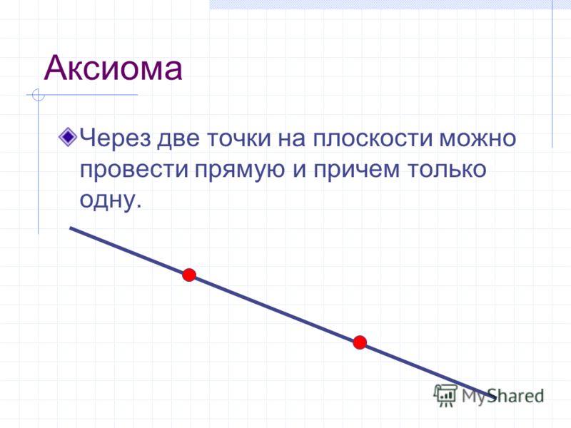 Аксиома Через две точки на плоскости можно провести прямую и причем только одну.