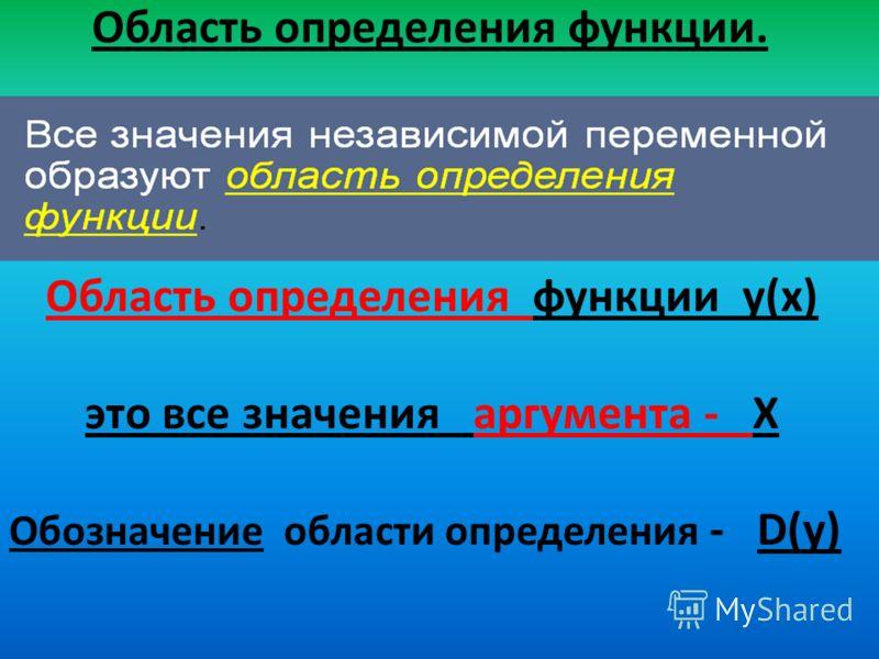 Область определения функции. Область определения функции у(х) это все значения аргумента - Х Обозначение области определения - D(у)