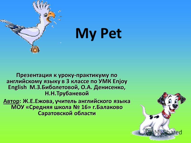 Урок английского в третьем классе по теме my pet