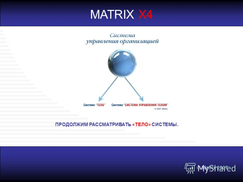 © Matrix 2007 MATRIX X4 ПРОДОЛЖИМ РАССМАТРИВАТЬ «ТЕЛО» СИСТЕМЫ.