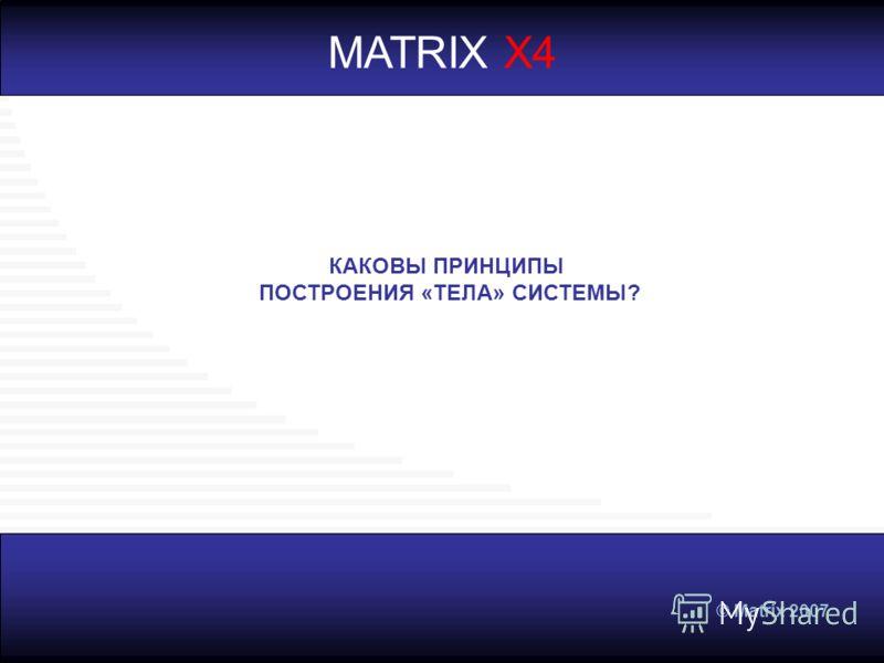 © Matrix 2007 MATRIX X4 КАКОВЫ ПРИНЦИПЫ ПОСТРОЕНИЯ «ТЕЛА» СИСТЕМЫ?