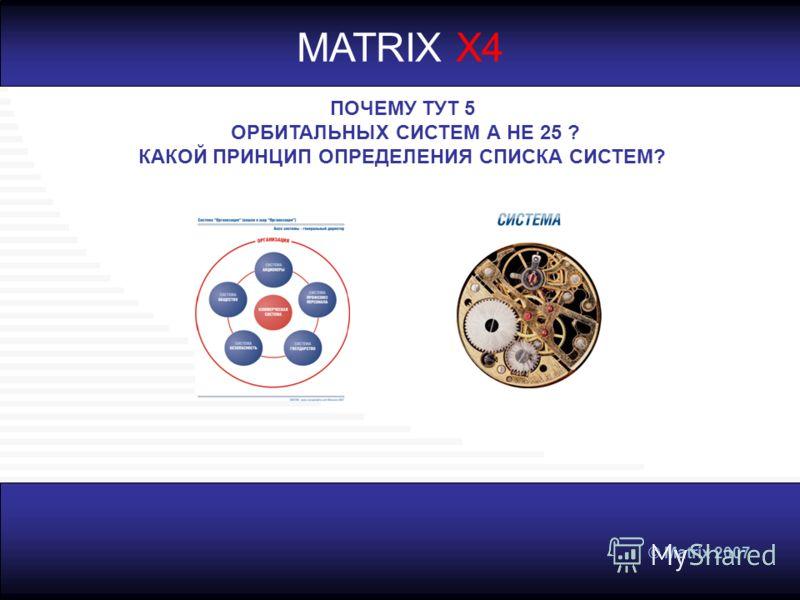 © Matrix 2007 MATRIX X4 ПОЧЕМУ ТУТ 5 ОРБИТАЛЬНЫХ СИСТЕМ А НЕ 25 ? КАКОЙ ПРИНЦИП ОПРЕДЕЛЕНИЯ СПИСКА СИСТЕМ?