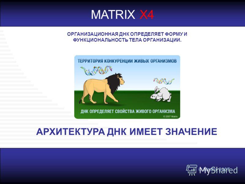 © Matrix 2007 MATRIX X4 ОРГАНИЗАЦИОННАЯ ДНК ОПРЕДЕЛЯЕТ ФОРМУ И ФУНКЦИОНАЛЬНОСТЬ ТЕЛА ОРГАНИЗАЦИИ. АРХИТЕКТУРА ДНК ИМЕЕТ ЗНАЧЕНИЕ