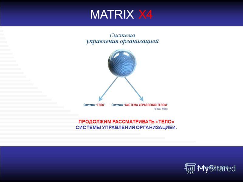 © Matrix 2007 MATRIX X4 ПРОДОЛЖИМ РАССМАТРИВАТЬ «ТЕЛО» СИСТЕМЫ УПРАВЛЕНИЯ ОРГАНИЗАЦИЕЙ.