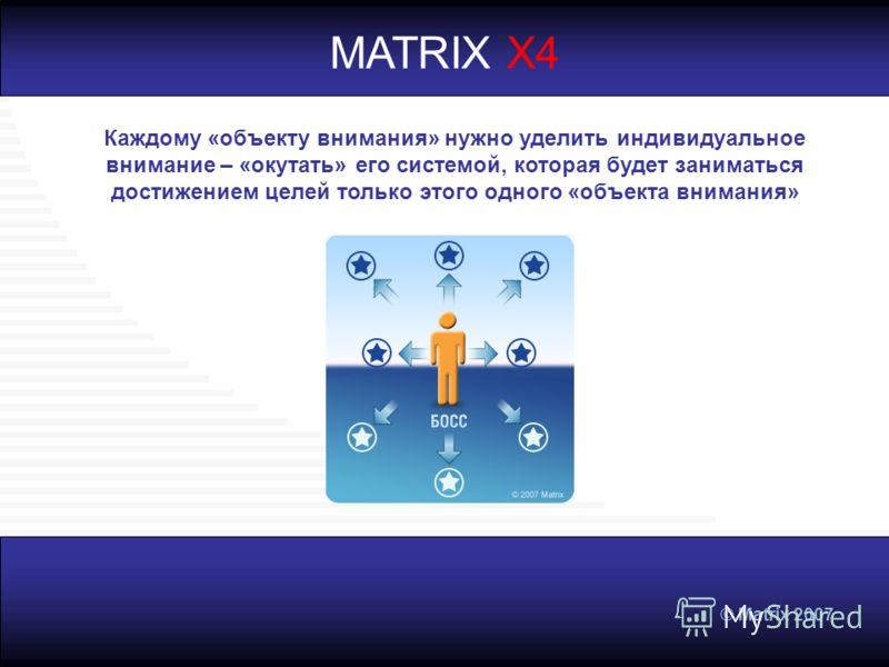 © Matrix 2007 MATRIX X4 Каждому «объекту внимания» нужно уделить индивидуальное внимание – «окутать» его системой, которая будет заниматься достижением целей только этого одного «объекта внимания»
