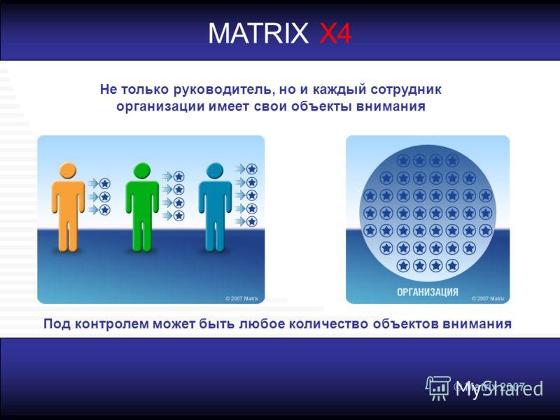 © Matrix 2007 MATRIX X4 Не только руководитель, но и каждый сотрудник организации имеет свои объекты внимания Под контролем может быть любое количество объектов внимания