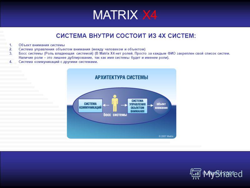 © Matrix 2007 MATRIX X4 СИСТЕМА ВНУТРИ СОСТОИТ ИЗ 4Х СИСТЕМ: 1.Объект внимания системы 2.Система управления объектом внимания (между человеком и объектом) 3.Босс системы (Роль владеющая системой) (В Matrix X4 нет ролей. Просто за каждым ФИО закреплен