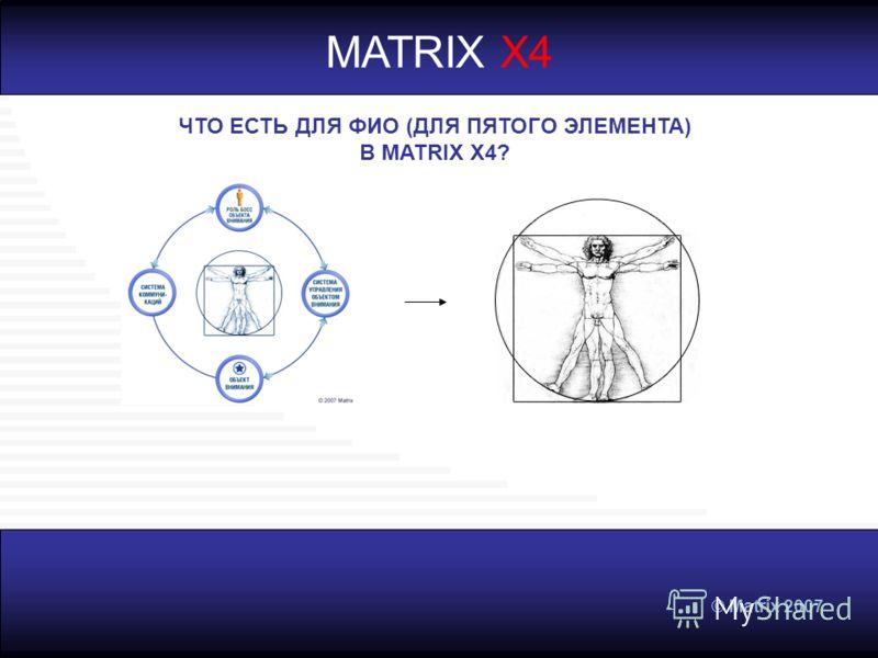 © Matrix 2007 MATRIX X4 ЧТО ЕСТЬ ДЛЯ ФИО (ДЛЯ ПЯТОГО ЭЛЕМЕНТА) В MATRIX X4?