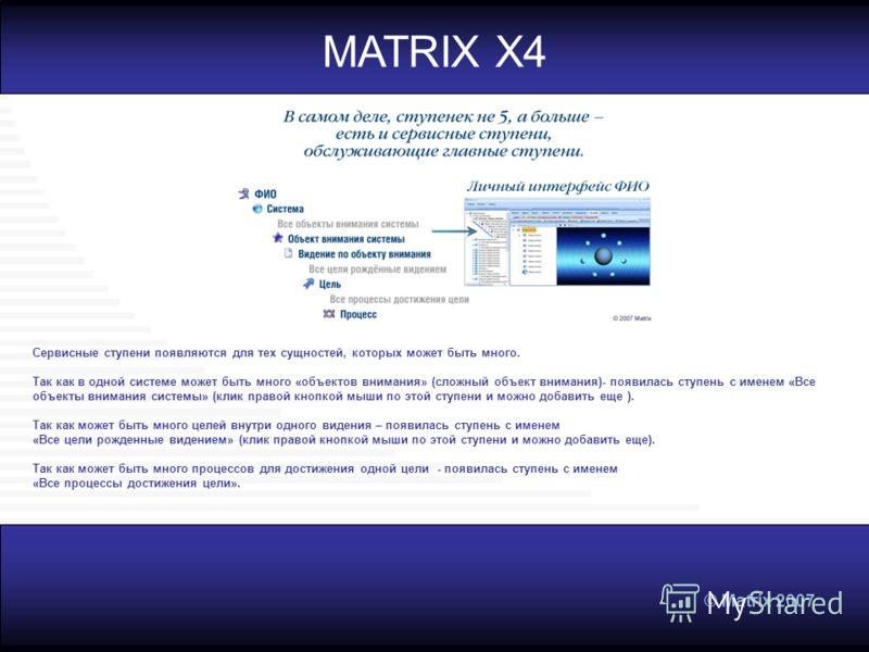 © Matrix 2007 MATRIX X4 Сервисные ступени появляются для тех сущностей, которых может быть много. Так как в одной системе может быть много «объектов внимания» (сложный объект внимания)- появилась ступень с именем «Все объекты внимания системы» (клик