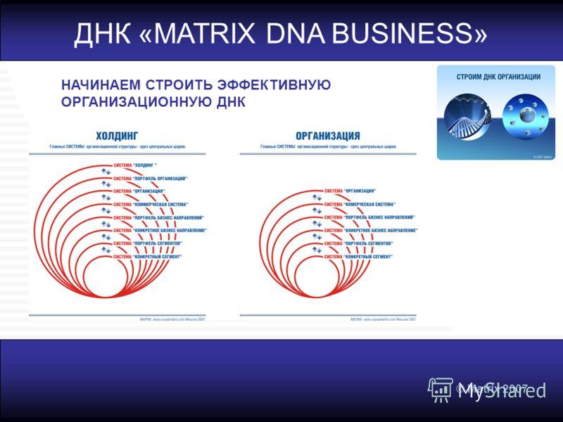 © Matrix 2007 НАЧИНАЕМ СТРОИТЬ ЭФФЕКТИВНУЮ ОРГАНИЗАЦИОННУЮ ДНК ДНК «MATRIX DNA BUSINESS»