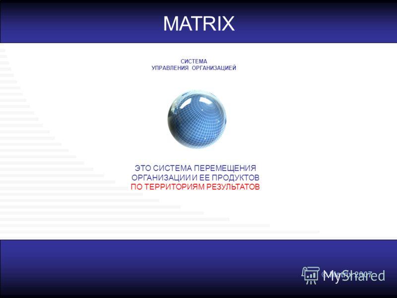 © Matrix 2007 MATRIX ЭТО СИСТЕМА ПЕРЕМЕЩЕНИЯ ОРГАНИЗАЦИИ И ЕЕ ПРОДУКТОВ ПО ТЕРРИТОРИЯМ РЕЗУЛЬТАТОВ СИСТЕМА УПРАВЛЕНИЯ ОРГАНИЗАЦИЕЙ