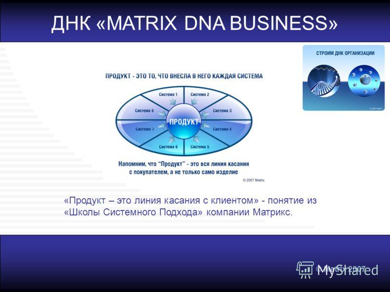 © Matrix 2007 ДНК «MATRIX DNA BUSINESS» «Продукт – это линия касания с клиентом» - понятие из «Школы Системного Подхода» компании Матрикс.