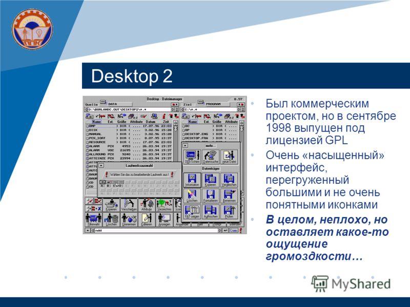 Desktop 2 Был коммерческим проектом, но в сентябре 1998 выпущен под лицензией GPL Очень «насыщенный» интерфейс, перегруженный большими и не очень понятными иконками В целом, неплохо, но оставляет какое-то ощущение громоздкости…