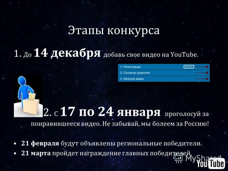 Этапы конкурса 1. До 14 декабря добавь свое видео на YouTube. 2. С 17 по 24 января проголосуй за понравившееся видео. Не забывай, мы болеем за Россию! 21 февраля будут объявлены региональные победители. 21 марта пройдет награждение главных победителе