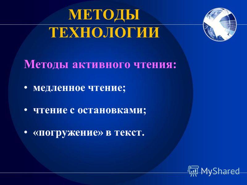МЕТОДЫ ТЕХНОЛОГИИ Методы активного чтения: медленное чтение; чтение с остановками; «погружение» в текст.