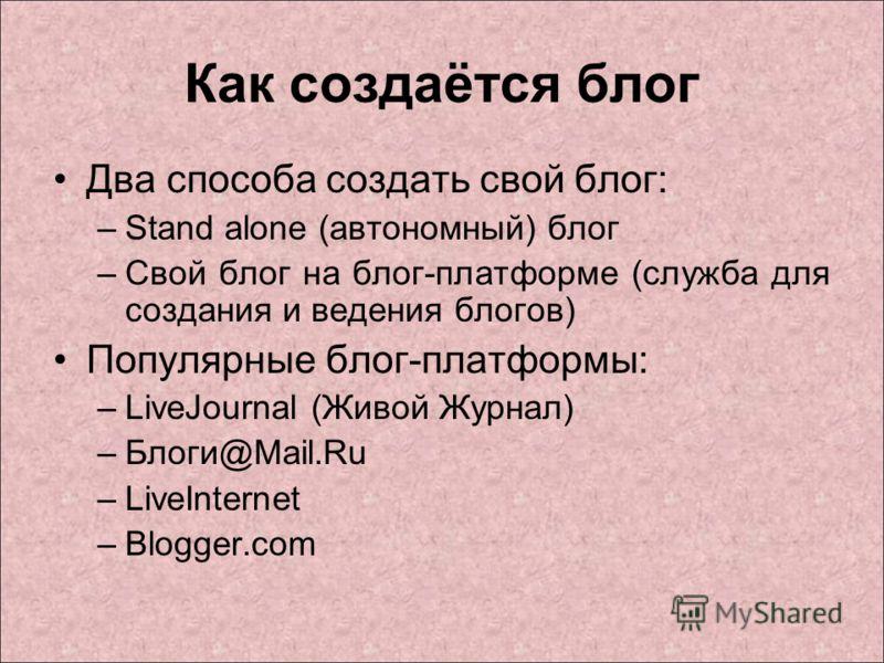 Как создаётся блог Два способа создать свой блог: –Stand alone (автономный) блог –Свой блог на блог-платформе (служба для создания и ведения блогов) Популярные блог-платформы: –LiveJournal (Живой Журнал) –Блоги@Mail.Ru –LiveInternet –Blogger.com